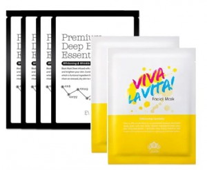 Super Zestaw: Eveness Premium Deep Black Essential Mask 4 szt. + Viva La Vita Facial Mask 2 szt